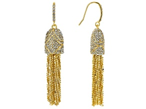 White Crystal Gold Tone Tassel Earrings