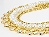 White Crystal Pearl Simulant Gold Tone Multi Row Necklace