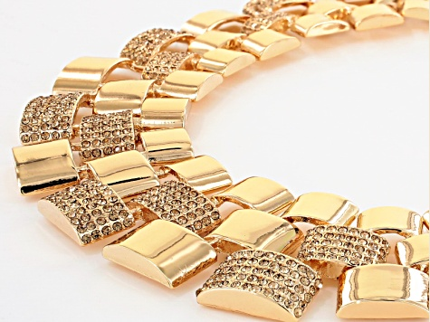 Champagne Crystal Gold Tone Statement Necklace