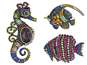 Multicolor Crystal Antiqued Gold Tone Sea Life Brooch Set Of 3