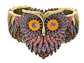 Multicolor Crystal Orange Enamel Antiqued Gold Tone Owl Cuff Bracelet