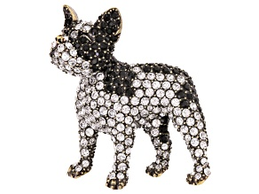 Multicolor Crystal Antiqued Gold Tone French Bulldog Brooch