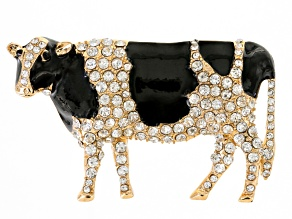 White And Black Crystal Black Enamel Gold Tone Cow Brooch