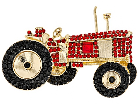 Off Park ® Collection Multicolor Crystal Gold Tone Tractor Brooch