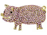 Off Park ® Collection Pink And Black Crystal Gold Tone Pig Brooch