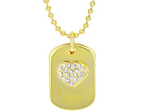 Off Park ® Collection White Crystal Gold Tone inspirational Dog Tag Necklace