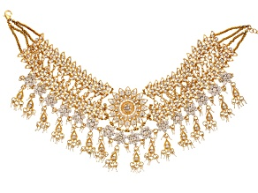 White Crystal Gold Tone Choker Statement Necklace