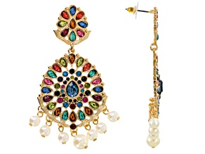 Multicolor Crystal White Pearl Simulant Gold Tone Dangle Earrings