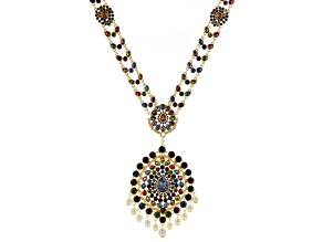 Off Park ®  Multi Crystal White Pearl Sim Gold Tone Statement Necklace W/ Removable Brooch