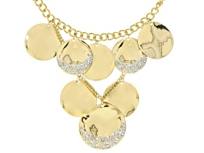 White Crystal Gold Tone Statement Necklace