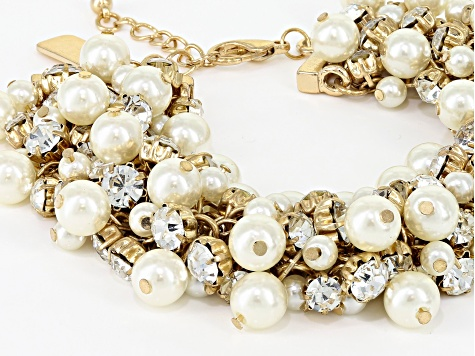 White Crystal White Pearl Simulant Gold Tone Statement Bracelet
