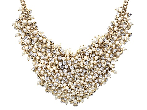 White Crystal White Pearl Simulant Gold Tone Statement Necklace