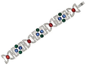 Multicolor Crystal Silver Tone Art Deco Bracelet