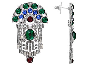 Multicolor Crystal Silver Tone Art Deco Dangle Earrings