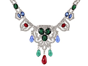 Multicolor Crystal Silver Tone Art Deco Statement Necklace