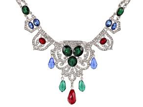 Multicolor Crystal Silver Tone Art Deco Statement Necklace