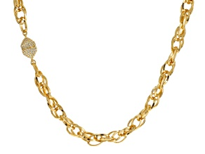 White Crystal Gold Tone Beveled Twisted Rope Chain Necklace