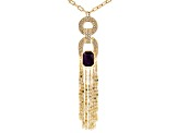 Multicolor Crystal Gold Tone Tassel Necklace