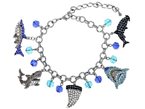 Multicolor Crystal Silver Tone Shark Charm Bracelet