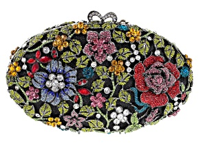 Off Park ® Collection Multicolor Crystal Gunmetal Tone Floral Clutch