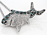 Off Park ® Collection Multicolor Crystal Silver Tone Great White Shark Pin/Pendant With Chain