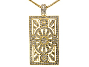 Off Park ® Collection, round white crystal, gold tone, magnetic enhancer pendant with chain.