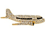 Off Park ® Collection White Crystal Black Enamel Gold Tone Airplane Brooch