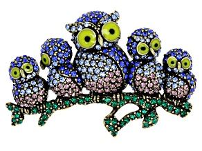 Off Park ® Collection Multicolor Crystal Antiqued Gold Tone Owl Brooch