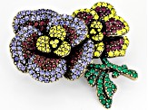 Off Park ® Collection Multicolor Crystal Antiqued Gold Tone Pansy Brooch