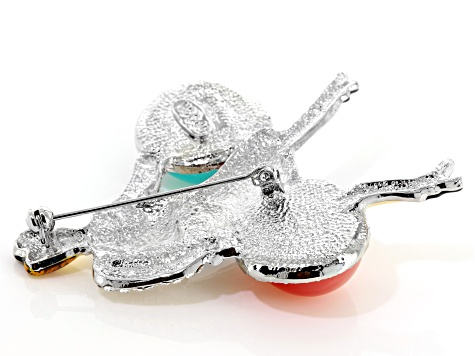 Off Park ® Collection Multicolor Crystal Multicolor Enamel Multicolor Resin Silver Tone Lady Brooch