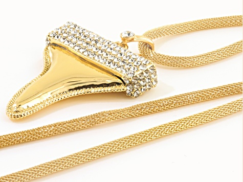 Off Park ® Collection White Crystal Gold Tone Shark's Tooth Necklace