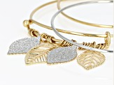 Silver Shimmer Gold and Silver Two Tone Adjustable Bracelet Set Of 3
