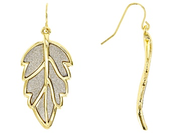 Picture of Silver Shimmer Gold Tone Leaf Dangle Earrings