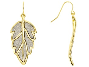 Silver Shimmer Gold Tone Leaf Dangle Earrings
