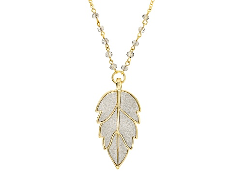White Crystal Silver Shimmer Gold Tone Glitter Leaf Necklace