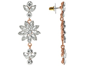 Off Park ® Collection White Crystal Rose Tone Dangle Earrings