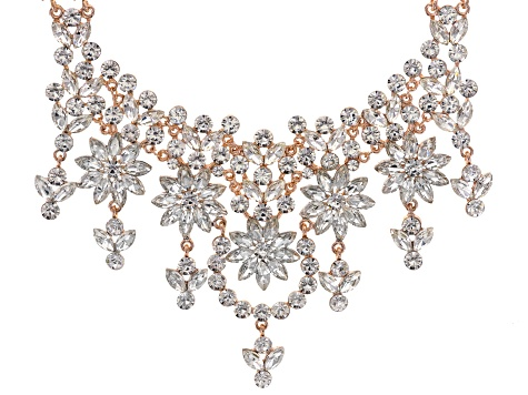 Off Park ® Collection White Crystal Rose Tone Statement Necklace