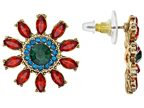 Off Park ® Collection Multicolor Crystal Gold Tone Flower Earrings