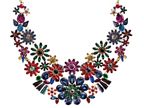 Off Park ® Collection Multicolor Crystal Gold Tone Floral Statement Necklace