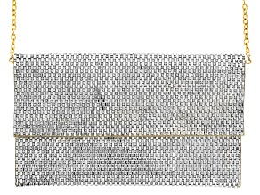 Off Park ® Collection White Crystal Gold Tone Clutch