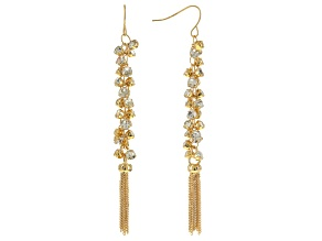 Off Park ® Collection White Crystal Gold Tone Tassel Dangle Earrings