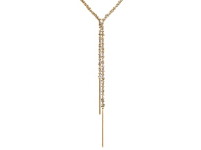 Off Park ® Collection White Crystal Gold Tone Tassel Necklace