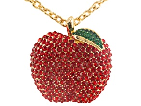 Off Park ® Collection Multicolor Crystal Gold Tone Apple Pin/Pendant With Chain