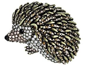 Off Park ® Collection Multicolor Crystal Antiqued Gold Tone Hedgehog Brooch