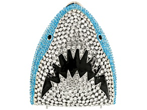 Multi color crystal silver tone shark clutch
