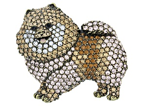 Multi Color Crystal Antiqued Gold Tone Pomeranian Brooch