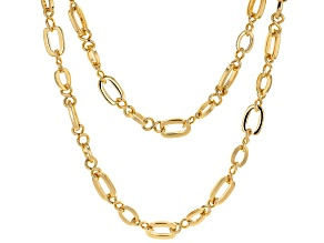 Round White Crystal Gold Tone Multi Chain Necklace