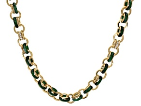 Round White Crystal and Green Resin Gold Tone Necklace