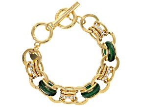 White Crystal and Green Resin Gold Tone Bracelet