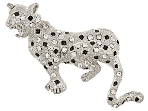 Multi Color Crystal Silver Tone Jaguar Brooch